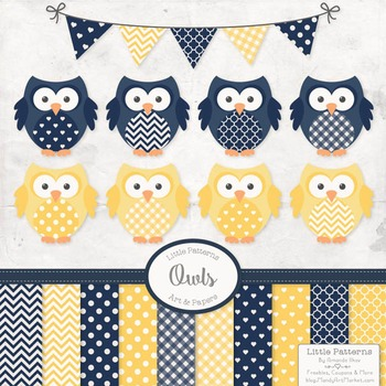 Navy & Lemon Vector Owls & Papers - Baby Owl Clipart, Owl