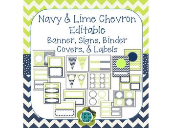 Navy & Lime Chevron and Dot EDITABLE Banner, Signs, Binder Covers and Labels