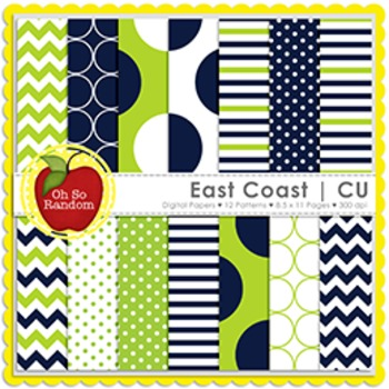 Navy & Lime Digital Papers {Papers for Commercial Use}