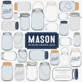 Navy Mason Jars Clipart & Vectors - Ball Jar Clipart