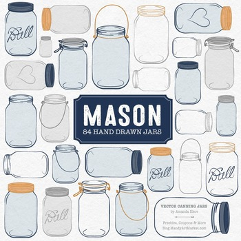 Navy Mason Jars Clipart & Vectors - Ball Jar Clipart