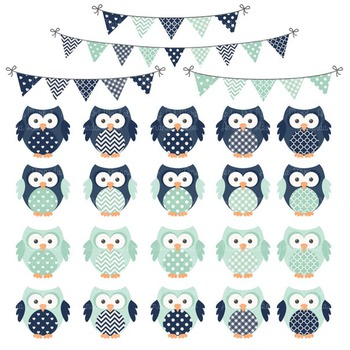 Navy & Mint Vector Owls & Papers - Baby Owl Clipart, Owl Clip Art, Baby Owls