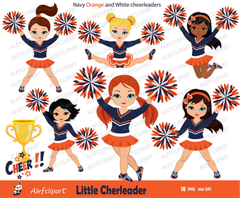 Navy, Orange and White Cheerleader Digital Clipart Set