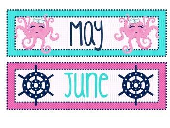 Navy, Pink, & Aqua Calendar Pack