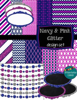 Navy & Pink GLITTER Design Set digital paper banners and labels