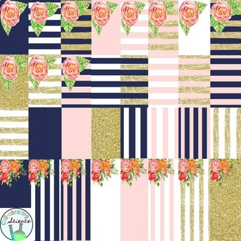 Navy, Pink, and Gold Floral Digital Paper