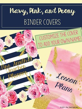 Navy, Pink, and Peony Teacher Binder Covers