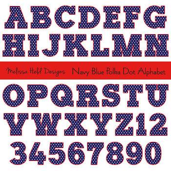 Clipart Alphabet: Navy Blue Polka Dot Alphabet Clip Art