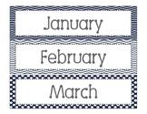 Navy Print Calendar Months