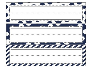 Navy Print Name Tags/Locker Tags/Word Strips