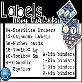 147 Organizer Labels -- Navy Quatrefoil Drawers Toolbox Ca