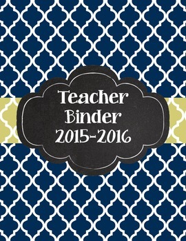 Navy Quatrefoil and Sage Green Elegant Teacher Binder