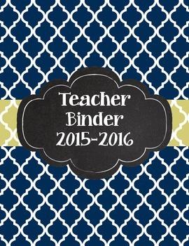 Navy Quatrefoil and Sage Green Elegant Teacher Binder