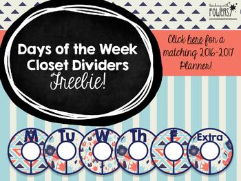 Navy & Red Closet Dividers FREEBIE