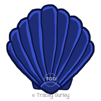 Navy Scallop Shell - scallop shell clip art Printable Tracey Gurley Designs