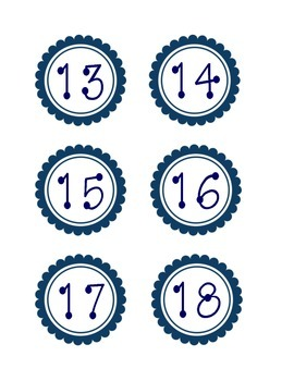 Navy Scalloped Calendar Numbers