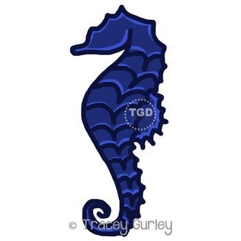Navy Seahorse - navy seahorse clip art Printable Tracey Gurley Designs