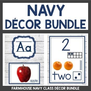 Navy Shabby Chic Themed Classroom Decor Bundle
