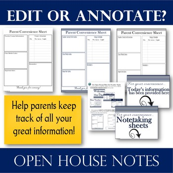 Signs & EDITABLE Note-taking Sheets for Presentations @ Parent Meetings