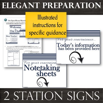 Signs & EDITABLE Note-taking Sheets for Parent Presentations