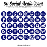 Navy Social Media Icons, Round Social Icons, 25 Popular Icons in two sizes