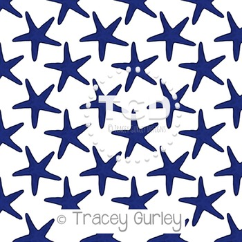 Navy Starfish Pattern Repeat on White digital paper Printable Tracey Gurley