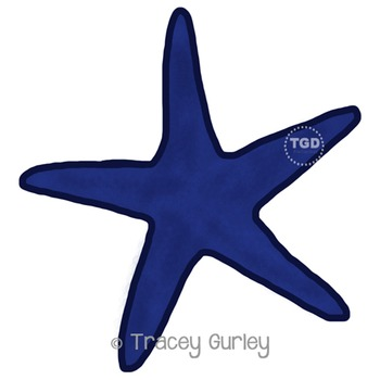 Navy Starfish - starfish clip art, beach art Printable Tracey Gurley Designs