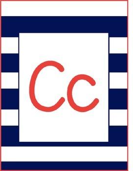 Navy Stripe Classroom Alphabet