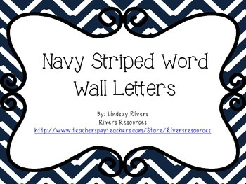 Navy Striped Word Wall Letters