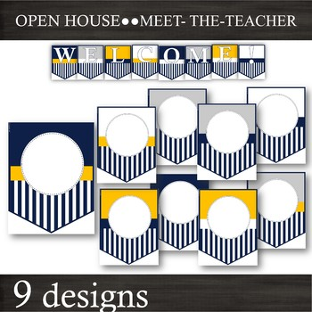 EDITABLE Banner Pennants -- Back-to-School & Open-House -- Navy Gold White Grey