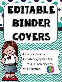 Navy & Teal Editable Binder Covers (w/ Melonheadz Kids)