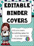 Navy & Teal Editable Binder Covers (w/ Melonheadz Kids)