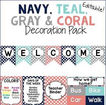 Navy, Teal, Gray, and Coral Polka Dot Decor Pack