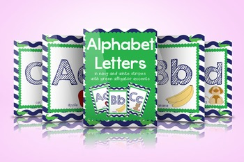 Navy White and Green Letters with Alligator Accents