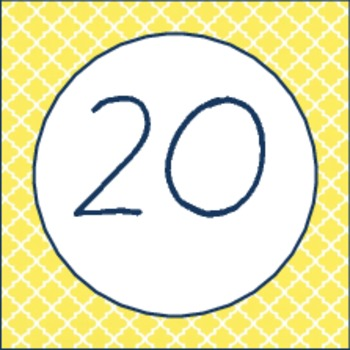 Navy & Yellow Calendar Numbers