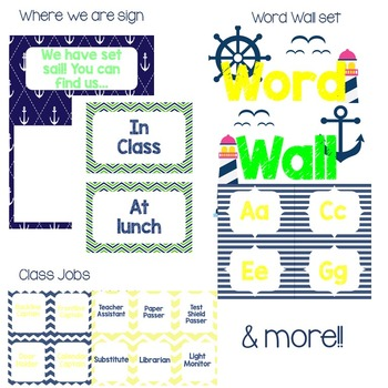 Navy & Yellow Nautical Classroom Set