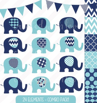Navy and Aqua Elephant and Bunting Clip Art Combo with Digital Papers