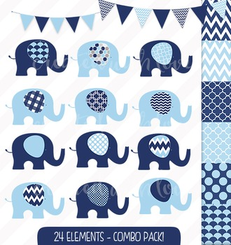 Navy and Baby Blue Elephant and Bunting Clip Art Combo wit