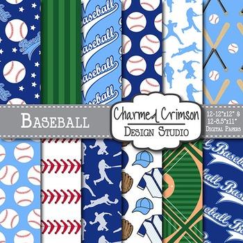Navy and Blue Baseball Digital Paper 1509
