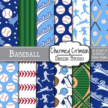 Navy and Blue Baseball Digital Paper 1509