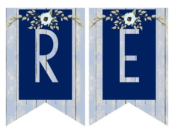 Rustic Farmhouse Subject Banners - Navy and Blue Wood