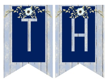 Rustic Farmhouse Subject Banners Decor - Navy and Blue Wood with Floral Accents