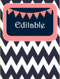 Navy and Blush Chevron Binder Covers and Spine Labels! FREE!!