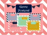 Navy and Blush Chevron Genre Posters