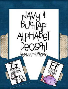 Navy and Burlap Alphabet A-Z