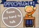 Navy and Burlap Class Rules Expectations with Behavior Notice