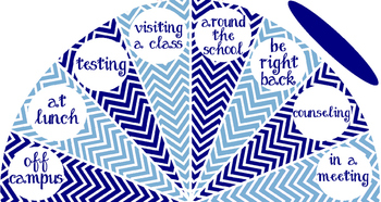 Navy and Carolina Blue - Where is the Counselor? sign - variation #2