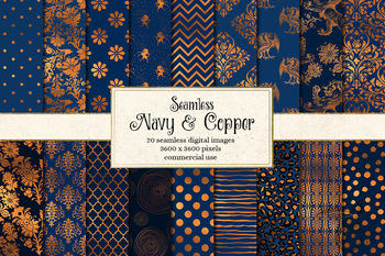 Navy and Copper Seamless Patterns, digital paper backgrounds