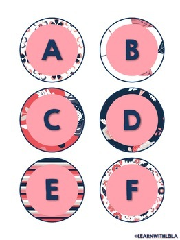 Navy and Coral Alphabet Set