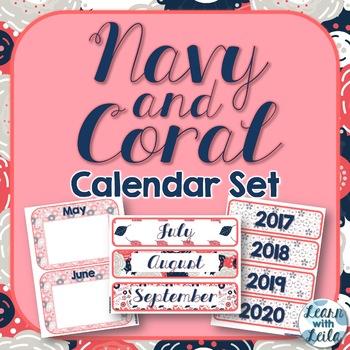Navy and Coral Calendar Set